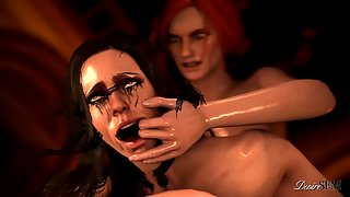 Triss Merigold rails Yennefer's pussy from the back with her big futa cock