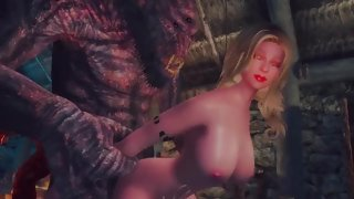 Hot blonde from Skyrim gets her holes ripped open by monster cock