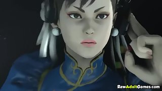 3D street fighter Chun Li loses a match and then gets strapon fucked