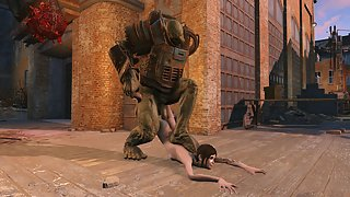 Petite hentai teen gets her faced fucked by fallout monster