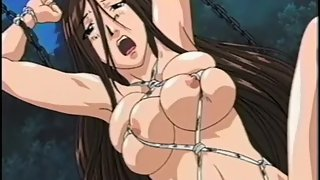 Busty brunette hentai fucked while being tied up