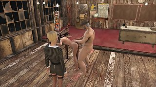 Fallout 4 schoolgirl is punished in stocks with anal sex