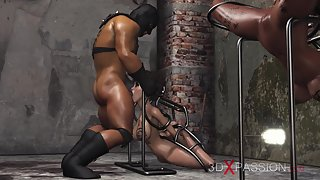 Young ebony girls in human cages fucked by a brutal man in fetish dungeon