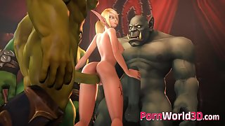 Big dicked 3d orc pound a slim blonde elf from both ends