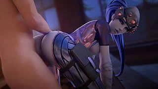 Overwatch Widowmaker gets fucked deep in her asshole doggy style