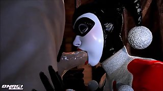Classic Harley Quinn bobbing on his knob during oral sex