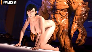 Tifa Lockhart gets her cunt pounded by a big 3d monster cock